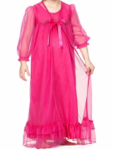 Laura Dare Fuchsia Peignoir Set