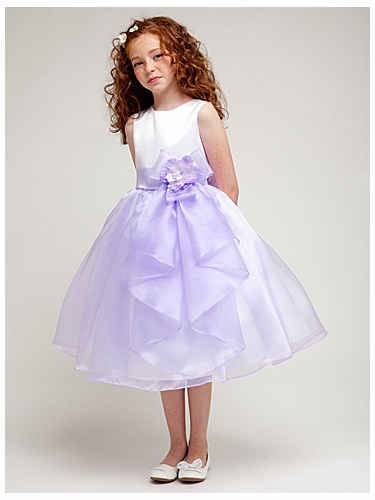 Lavender Organza Skirt Dress w/ Bow & Flower