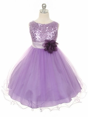 Lavender Sequined Bodice w/ Double Layered Mesh Dress