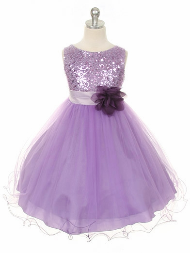 Lavender Sequined Bodice W Double Layered Mesh Dress