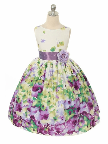 Lavender Sleeveless Cotton Floral Dress