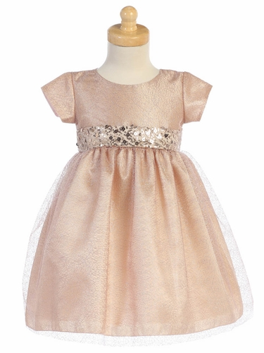 Swea Pea & Lilli C508 Champagne Shiny Mesh Dress w/ Sequin Waistband Dress
