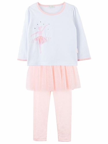 Le Top Baby Ballerina Shirt w/ Pink Tulle Skirted Leggings