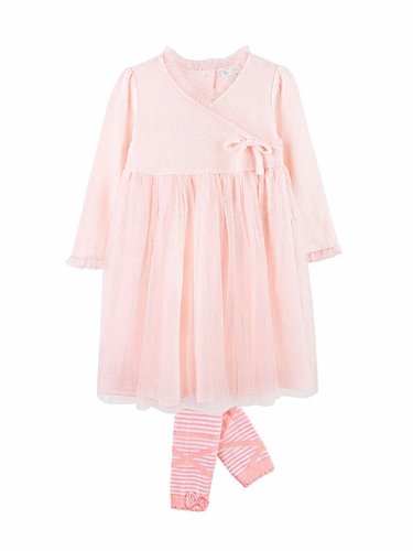 Le Top Baby Ballet Class Dress w/ Tulle Overskirt & Footless Ballet Tights