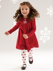 Le Top Baby  Jingle All The Way Snowflake Button Red Dress