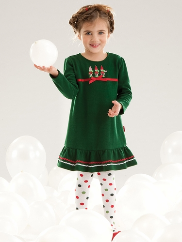 Le Top Baby Jolly Elves French Rib Dress w/ Hem Flounce