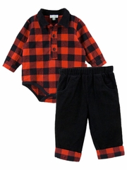 Le Top Baby Mad For Plaid Checkered Bodysuit & Corduroy Pant