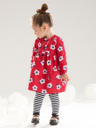 Le Top Baby Play Date Corduroy Dress & Stripe Footless Tights