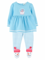 Le Top Baby Play In The Snow Swing Top & Footed Stripe Pants