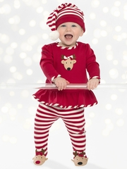 7a3f90dcb609 Le Top Baby Reindeer Cheer Swing Top   Footed Stripe Pants