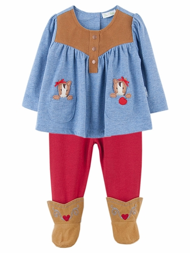 Le Top Baby Saddle Girl Pony Swing Top & Leggings w/ Faux Suede Boots
