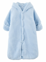 4828019baca0 Le Top Baby Safari Blue Hooded Plush Snuggle Bag w  Ears