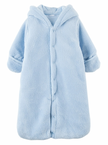 Le Top Baby Safari Blue Hooded Plush Snuggle Bag w/ Ears