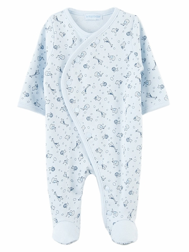 Le Top Baby Safari Snuggle Blue Footed Coverall