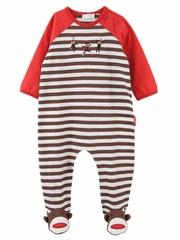 Le Top Baby Spunky Monkey Footed Stripe Coverall