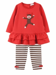 Le Top Baby Spunky Monkey Ruffle Tunic w/ Stripe Legging