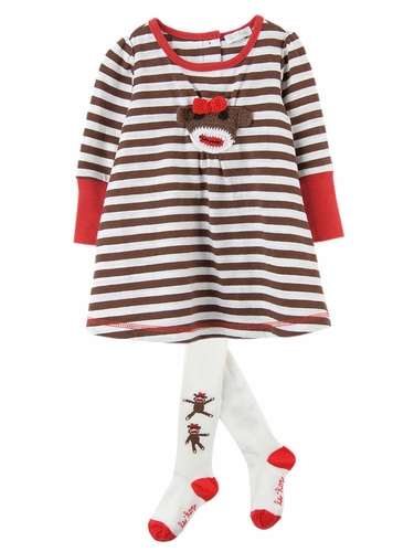 Le Top Baby Spunky Monkey Stripe Dress w/ Cream Tights