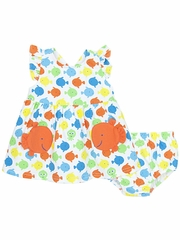 Le Top Go Fish Sundress Set w/ Cross Back & Orange Fish Pockets