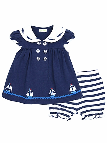 Le Top Happy Sails Navy Sailor Dress & Stripe Panty