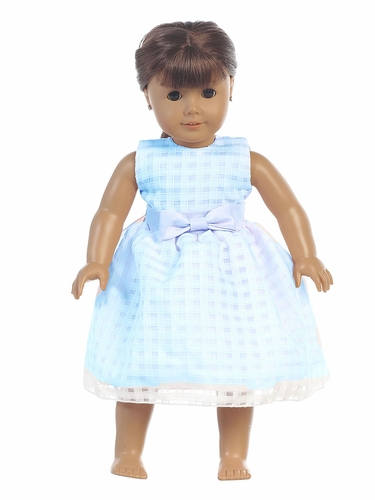 "Light Blue Basket Burnout Organza 18"" Doll Dress"