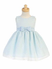 Light Blue Basket Burnout Organza Girls Dress