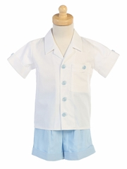 Light Blue Boys Poly Rayon Shorts Set