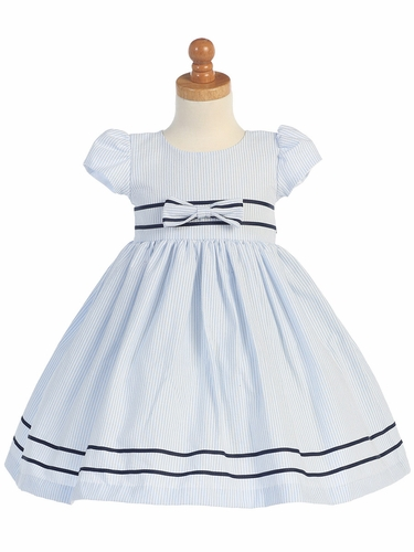 Light Blue Cotton Seersucker Dress