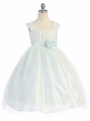 Light Blue Empire Waist Tulle Dress w/ Poly Silk Sleeve & Sash