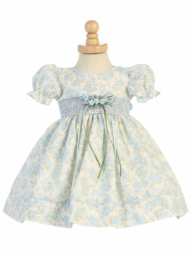 Light Blue Floral Baby Dress w/ Sleeve