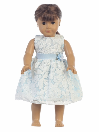 "Light Blue Floral Embossed Lace 18"" Doll Dress"