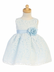 Light Blue Floral Embossed Lace Dress