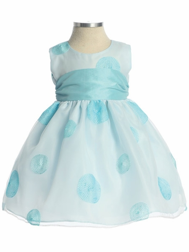 Light Blue Flower Girl Dress - Polka Dot Embroidered Organza Dress