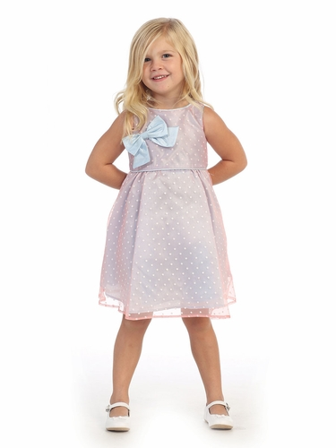 Light Blue Polka Dot Organza Dress w/ Bow