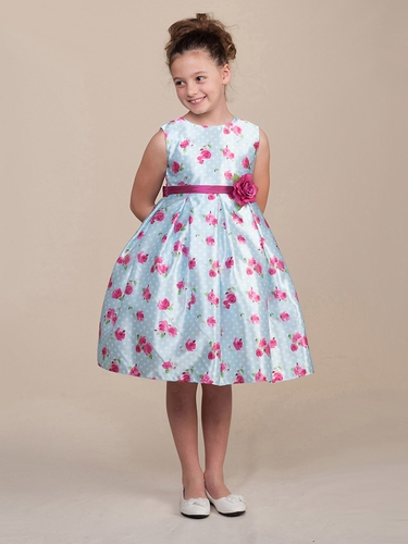 Light Blue Polka Dot Roses Dress w/ Waistband & Flower