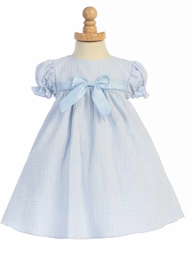 Light Blue Striped Cotton Seersucker Cap Sleeved Dress
