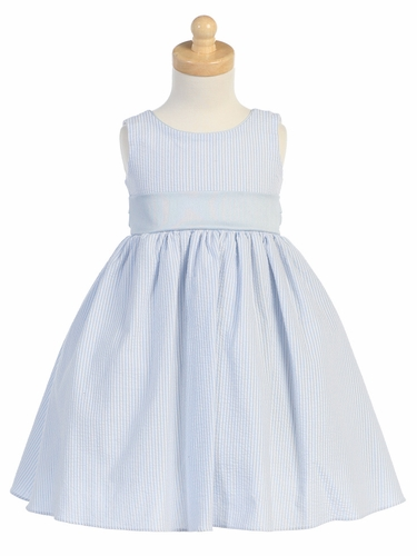 Light Blue Striped Cotton Seersucker Dress