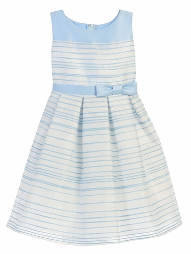 Light Blue Striped Woven & Satin Dress