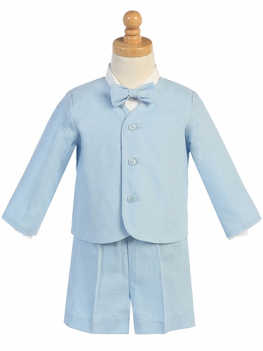 Light Blue Linen Eton & Shorts Set