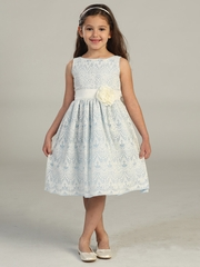 Light Blue Sweet Vintage Lace Dress