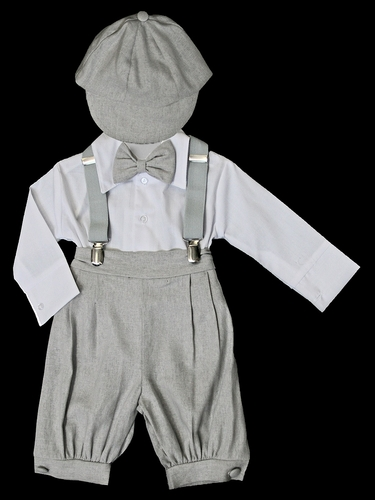 Light Grey Bermuda Set w/ Suspenders & Hat