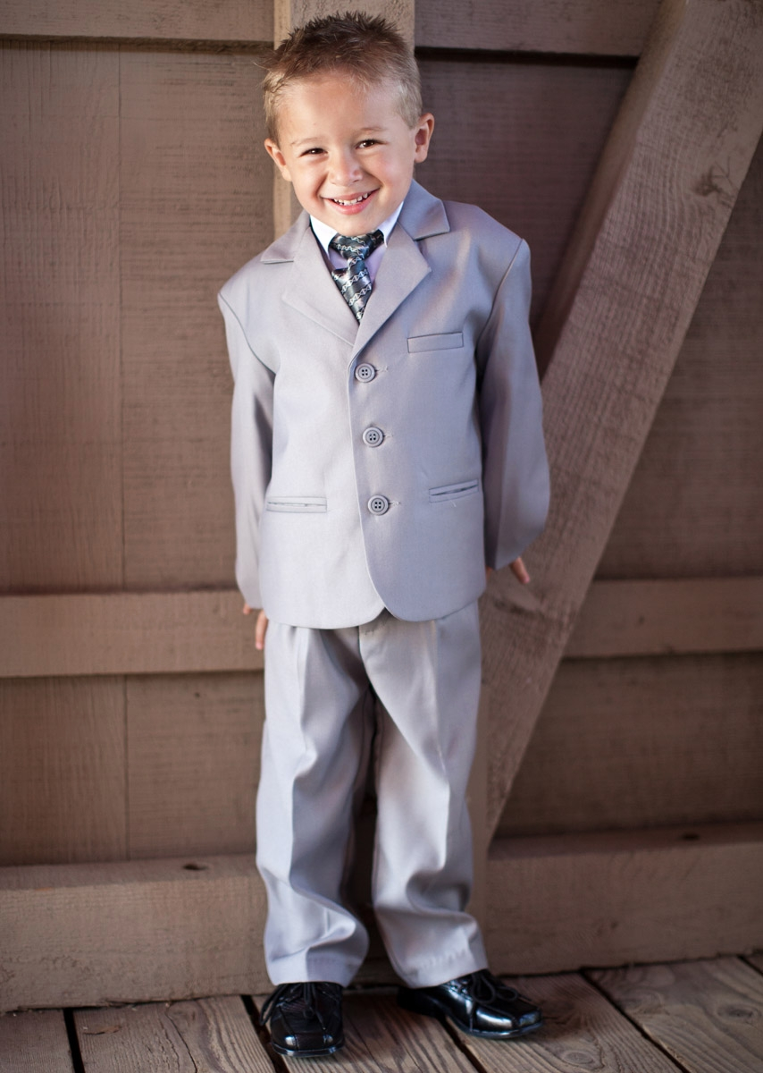 Boys\' Light Grey 5 Piece Suit