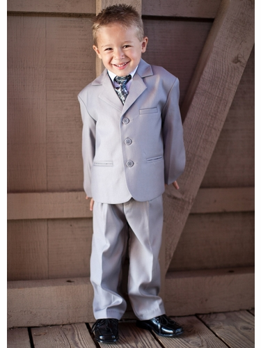 Boys' Light Grey 5 Piece Suit