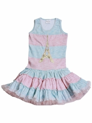 Ooh! La La! Couture Light Pink / Light Blue Striped Twirly Dress