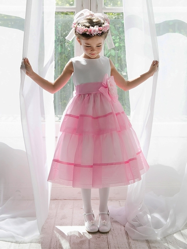 Light Pink Organza Layered Dress w/ Flower & Sash