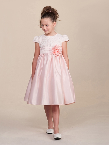 Light Pink Satin Lace Cap Sleeve Dress