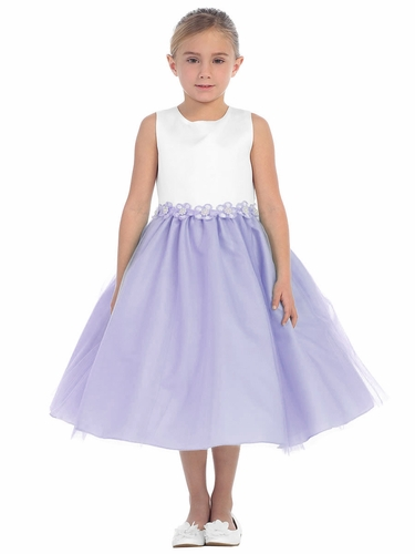 Lilac 2 Tone Dress w/ Flower Trim