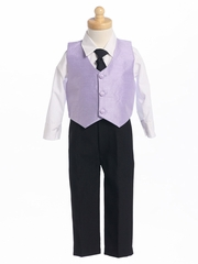 Lilac Boys Poly Silk Vest & Black Pant Set