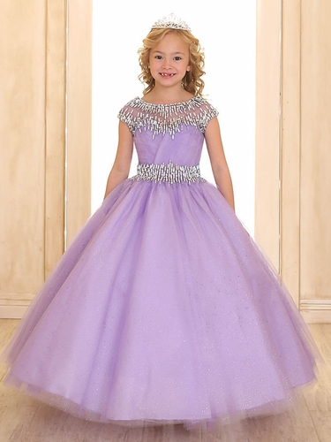 Lilac Cap Sleeve Sparkling Organza Ball Gown w/ Beaded Neckline & Waist