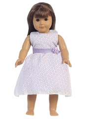 "Lilac Cotton Floral Burnout 18"" Doll Dress"