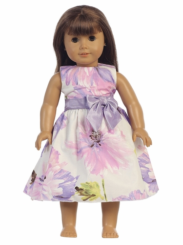"Lilac Cotton Floral Print 18"" Doll Dress"